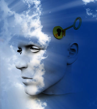 Artistic impression of a man's face in the sky